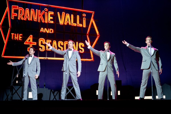 "John Lloyd Young as Frankie Valli, Erich Bergen as Bob Gaudio, Vincent Piazza as Tommy DeVito and Michael Lomenda as Nick Massi in ""Jersey Boys.""  © 2014 Warner Bros. Entertainment Inc. and Ratpac Entertainment."